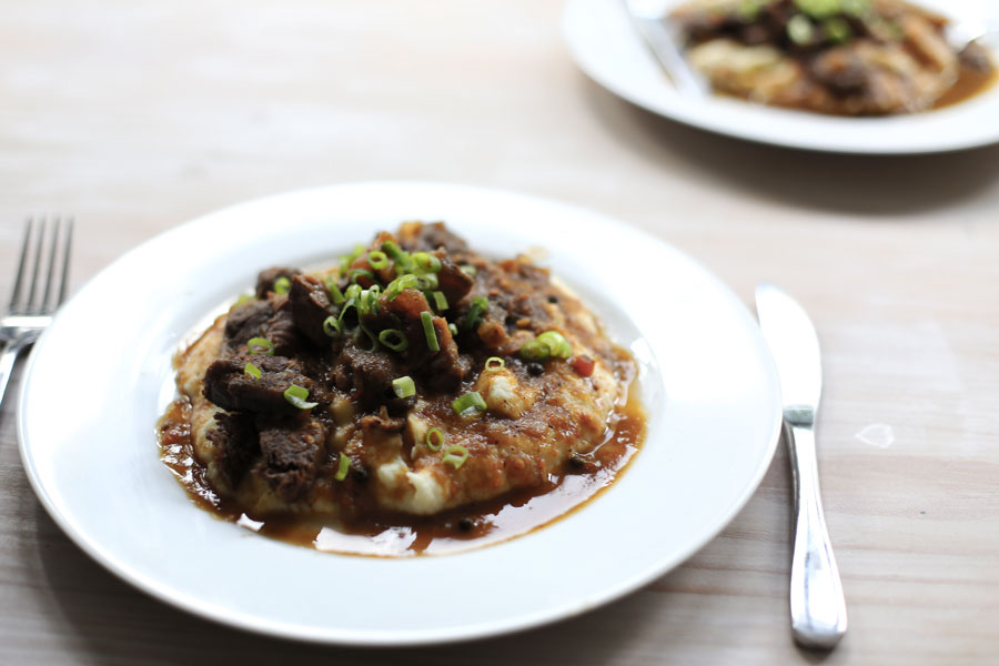 braised beef and parsnip mash now being served