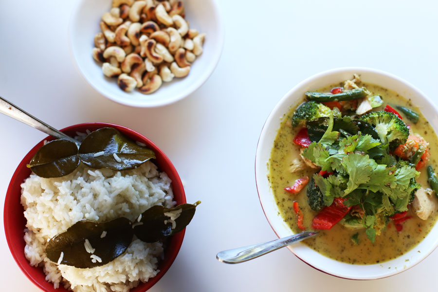 Thai green curry and coconut rice